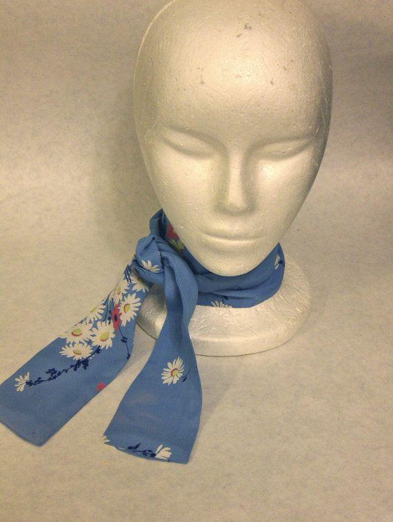 Ascot/Jabot Krawatte, blau Marine, weiß, gelb, Koralle Blumen Silkie Vintage Stoff