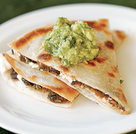 Black Bean & Goat Cheese Quesadillas with Guacamole. Optional to use rice based tortillas to keep it gluten free.