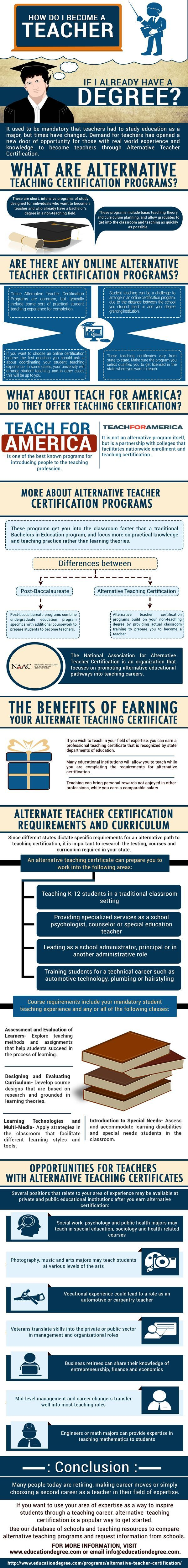 Best 25 teacher certification ideas on pinterest national board infographic on alternative certification and how to become a teacher if you already have a degree xflitez Choice Image