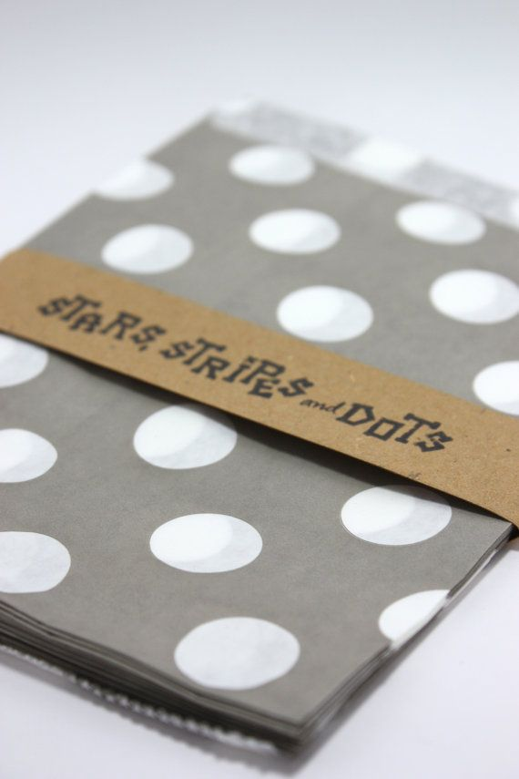 Party paper bags polka dots grey and white by StarsStripesAndDots, €2.99