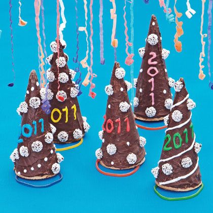 ice cream cones dipped in chocolate for new years.