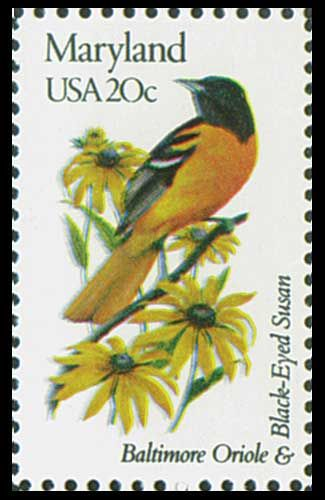 1982 20c Maryland State Bird & Flower - Catalog # 1972 For Sale at Mystic Stamp Company