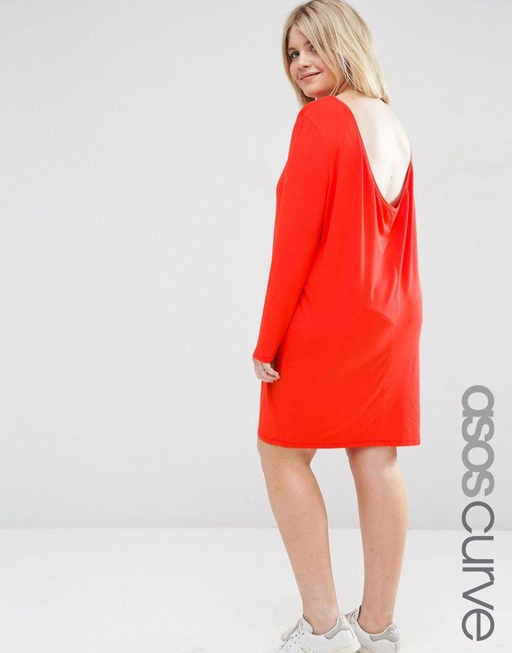 Image 1 ofASOS CURVE Mini Dress with Cowl Back