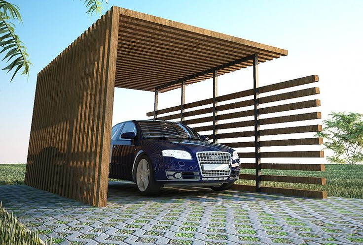 Exterior back to nature wood car ports modern wood car for Contemporary carport design architecture