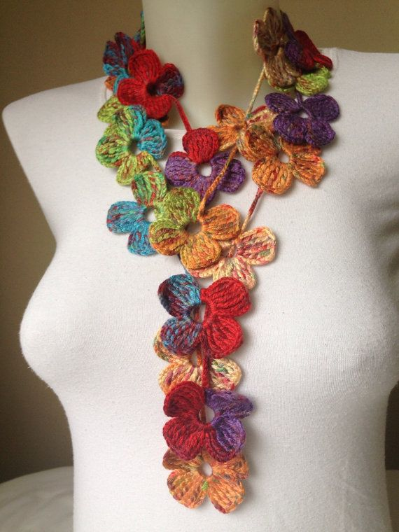 BUY 3 GET 1 FREE Floral Crochet Scarf in by Yellowcrochet on Etsy