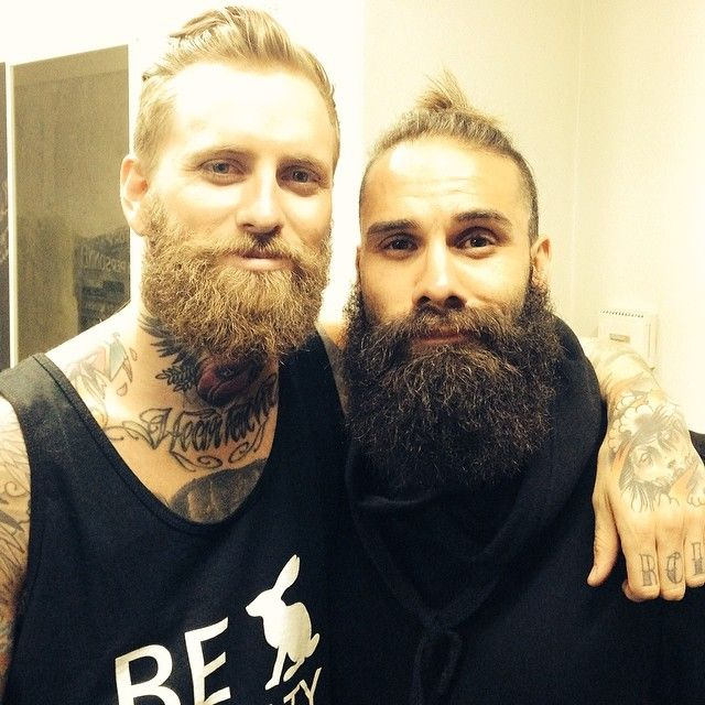 two beautiful beards beard bearded man men mens' style full thick bush pair handsome tattoos tattooed #beardsforever