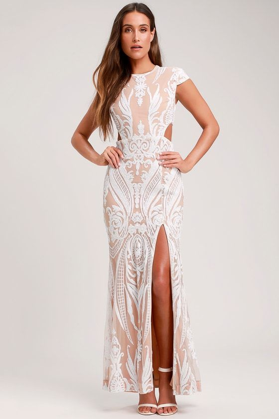 cceca167136 Emily White and Nude Sequin Cutout Maxi Dress