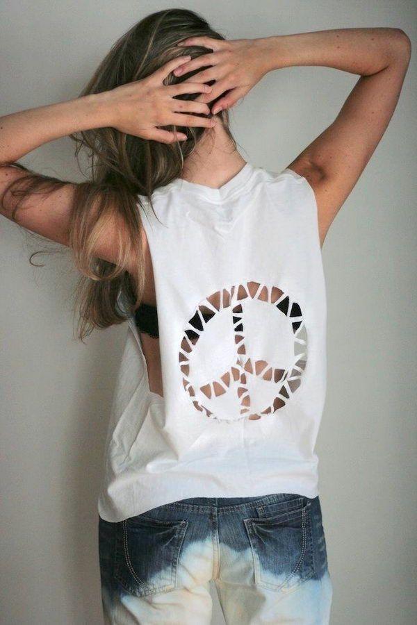 White T-Shirt Cutting, DIY T-Shirt Cutting Ideas for Girls, http://hative.com/diy-t-shirt-cutting-ideas-for-girls/,
