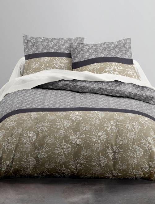 18ed950822b Juego de cama doble de algodón gris beige Hogar - Kiabi