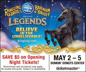 Ringling Bros. and Barnum & Bailey LEGENDS Announcement and Giveaway at the Dunkin' Donuts Center, Providence RI – 5/2-5/5 @Ringling Bros. - Exp 4/5