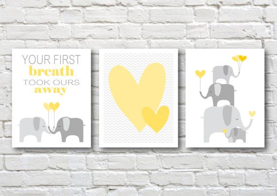 Elephants printable nursery art, instant download, elephant nursery art, grey and yellow nursery decor, elephants nursery decor