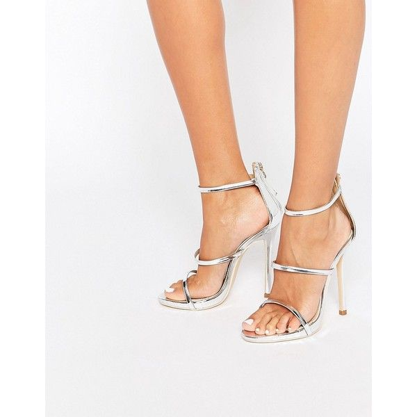Public Desire Strappy Silver Barely There Heeled Sandals (3.120 RUB) ❤ liked on Polyvore featuring shoes, sandals, silver, strap sandals, high heel sandals, strappy sandals, open toe sandals and silver high heel shoes