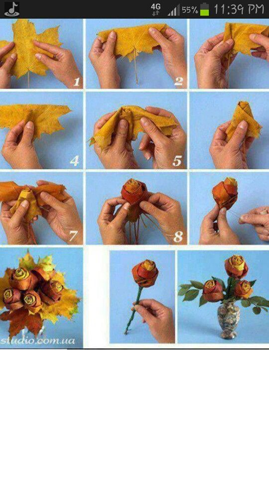Fall craft with leaves. Cute!