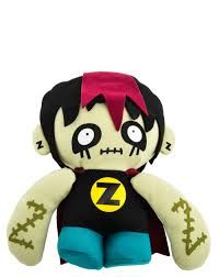 Zombie Doll Plush Zombie superhero plush doll., Approx. 8″ tall., For all ages. Hand washable. Superhero Zombie's special powers include the ability to eat raw brains without getting sick, walk for long distances at a boring pace, and be dead and living at the same time. http://awsomegadgetsandtoysforgirlsandboys.com/gund-superhero/ Gund Superhero: Zombie Doll Plush