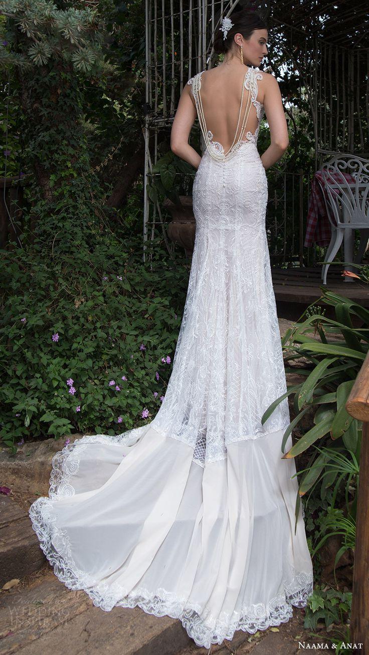 naama anat bridal 2017 sleeveless beaded straps sweetheart trumpet wedding dress (sparkle) bv illusion back train