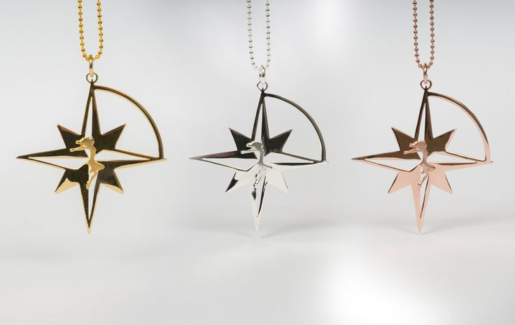 Compass Star Pendant in Gold plated Bronze.