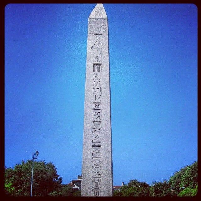 The Obelisk Of Theodosius I #sultanahmet #istanbul #ancient #historical #egypt #obelisk #stone #sculpture #old #turkey #antique #celinehotel #hotel #blue #hieroglyphics