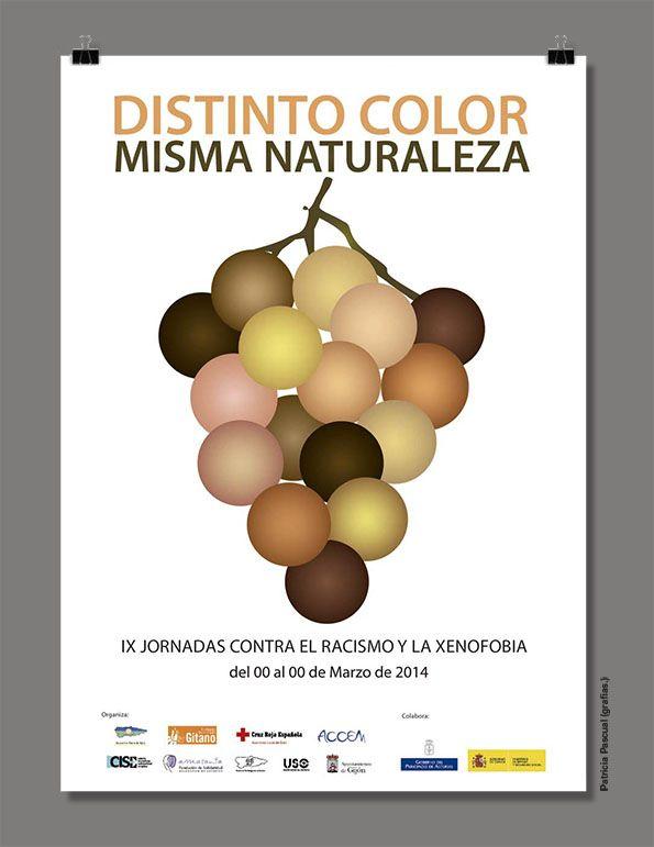 Cartel finalista en el concurso de diseño de cartel para las jornadas contra el racismo 2014 de gijón. grafias.