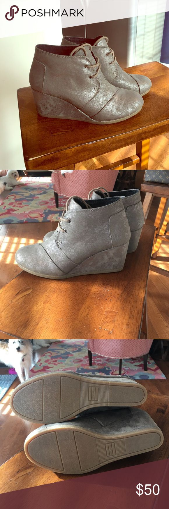 Toms desert wedge Metallic gray, worn maybe twice. Great condition. TOMS Shoes Wedges