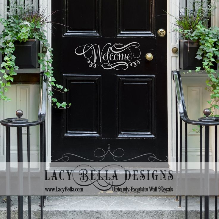 """Welcome"" vinyl lettering front door greeting sign sticker decal quote"