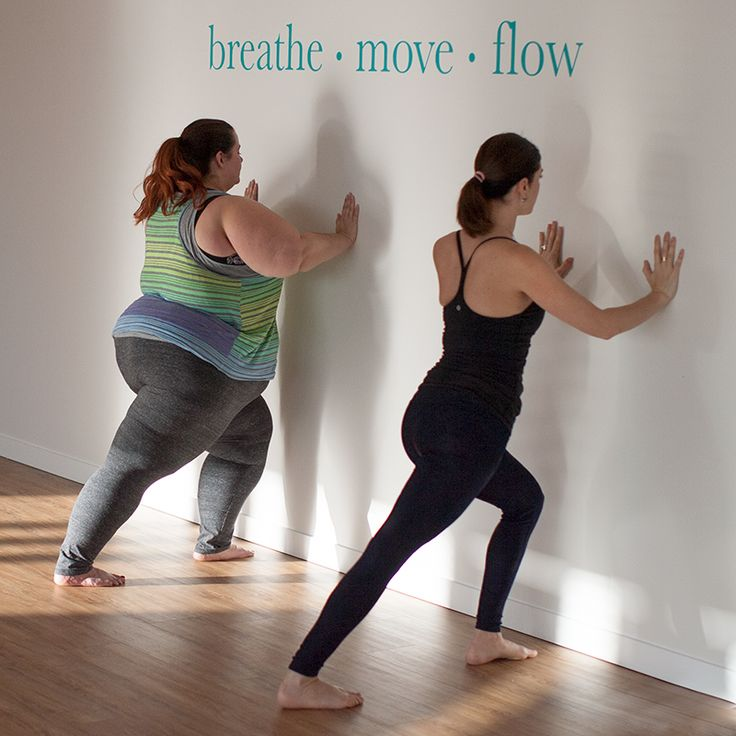 This is Meagan Kerr x Yoga With Me: Yoga For Beginners // Wall Lunge #fatyoga #bodypositiveyoga  Re-Pinned by Curvy Mama