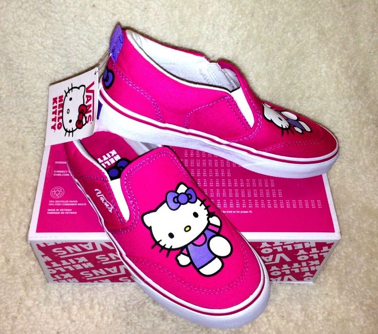 NEW VANS HELLO KITTY Slip On Shoes Pink SIZE 2  Retail: $45.00