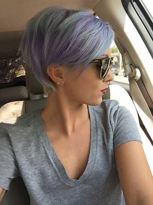 Long Pastel Blue Pixie Hair