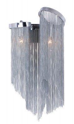 Kinkiet ROMA W02536CH  Seria olśniewająco pięknych lamp dekoracyjnych Roma marki Cosmo Light przywodzi na myśl biżuterię w stylu glamour. Obwieszone dziesiątkami srebrnych subtelnych łańcuszków, spiętych chromowaną oprawą przypominają eleganckie ozdoby, nie zaś tradycyjne oświetlenie.
