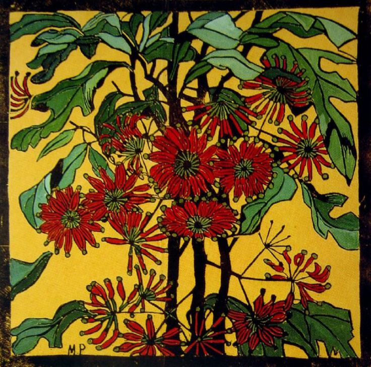 Wheelflower Handcoloured woodcut, 46 x 46 cm by Margaret Rose (MacPherson) Preston (1875-1963) Australia
