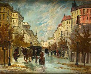 Scène de rue avec des chariots - (Antal Berkes)