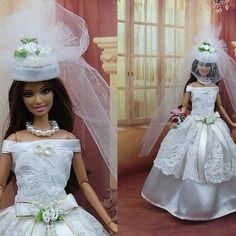 """Robe """" mariée n°17 """" tenue pour poupée barbie"""