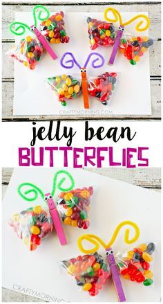 Jelly Bean Butterfly Treat Bags - Cute easter/spring gifts for the kids!