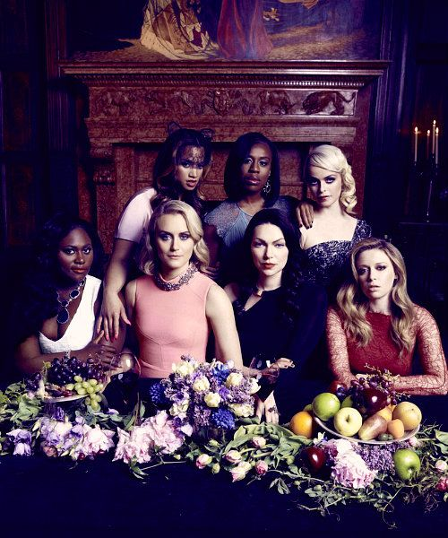 The cast of Orange Is The New Black:  Danielle Brooks, Dascha Polanco, Taylor Schilling, Uzo Aduba, Laura Prepon, Taryn Manning, and Natasha Lyonne.