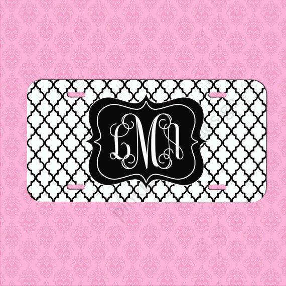 Custom License Plate Black White Lattice by pinkblossomdesign
