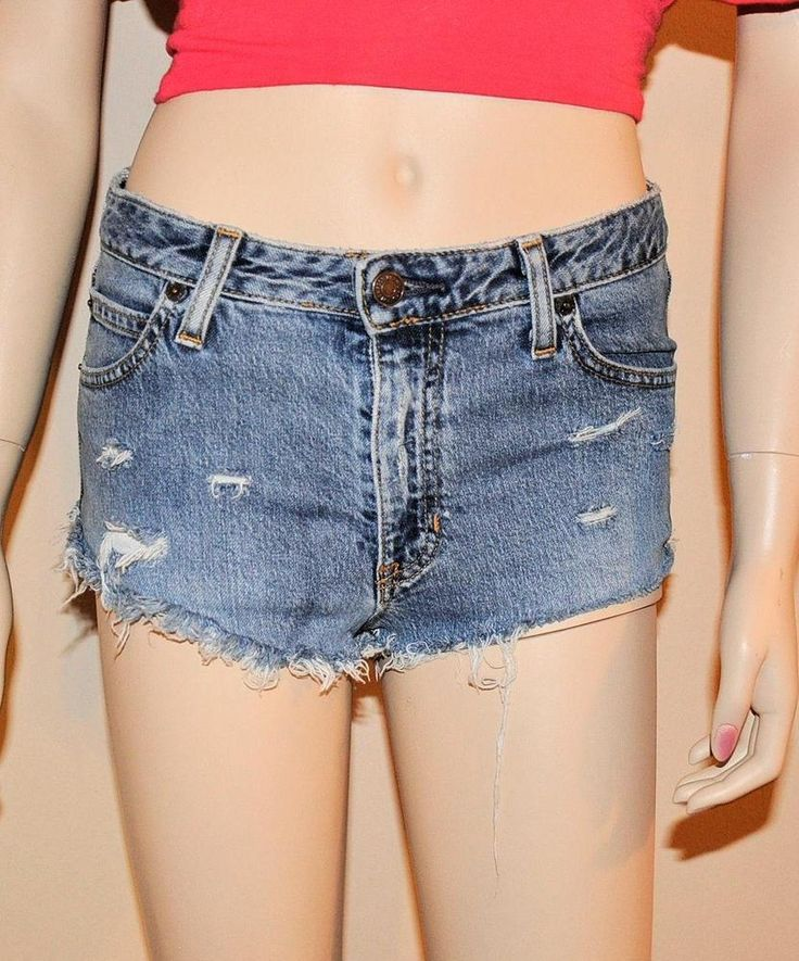VINTAGE DEMIN BLUE HIGH WAIST GAP4 DAISY DUKES CUT OFF SLASHED FRAY SHORT SHORTS #Gap #MiniShortShorts