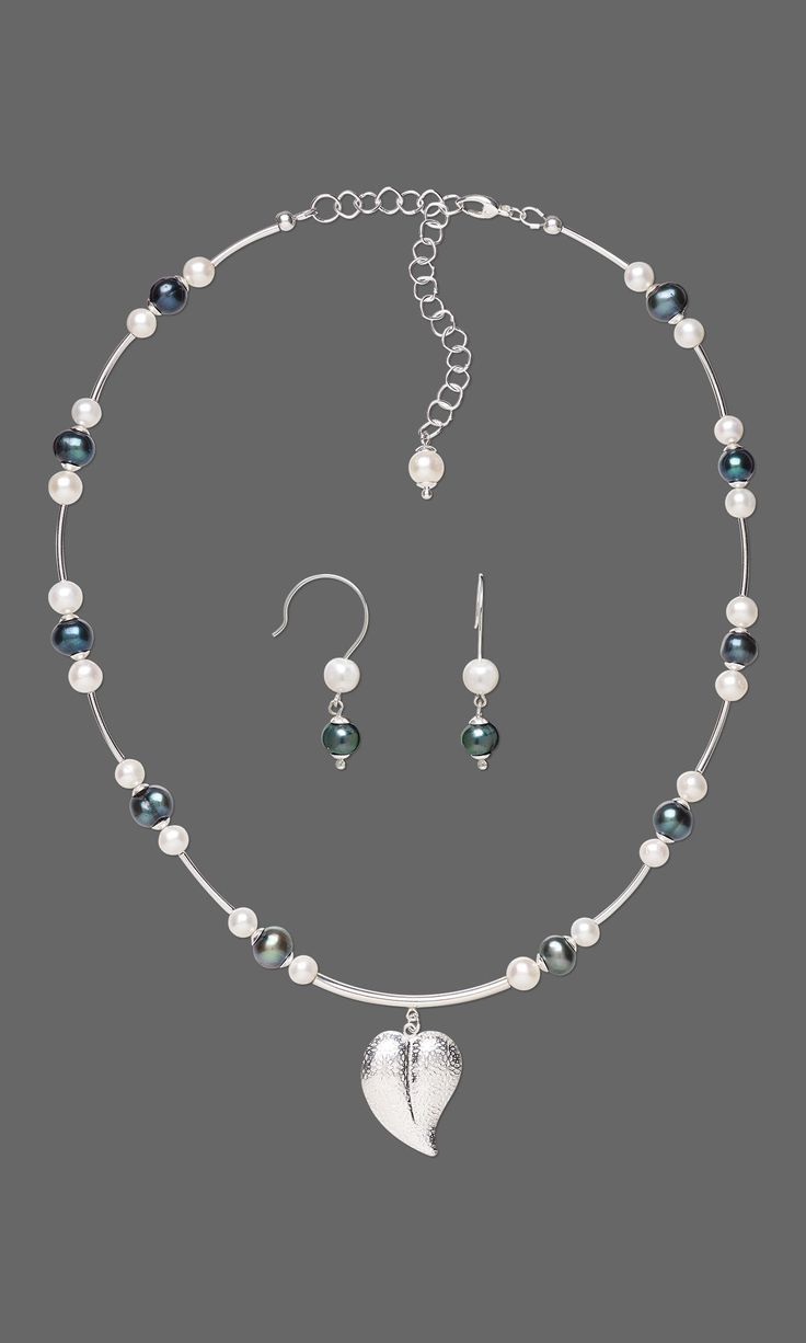 jewelry design single strand necklace and earring set with sterling silver filled charm - Jewelry Design Ideas