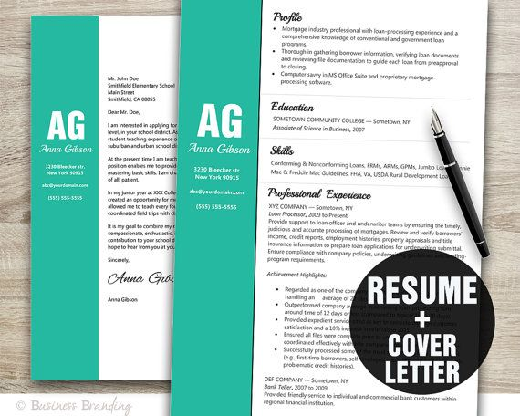 resume template resume cover letter template cv template instant download resume download - Resume Letter Template