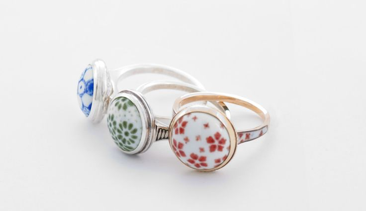 Enamel rings. Designed & made by Geoff Mitchell. Handpainted enamel by Tegan Mitchell.