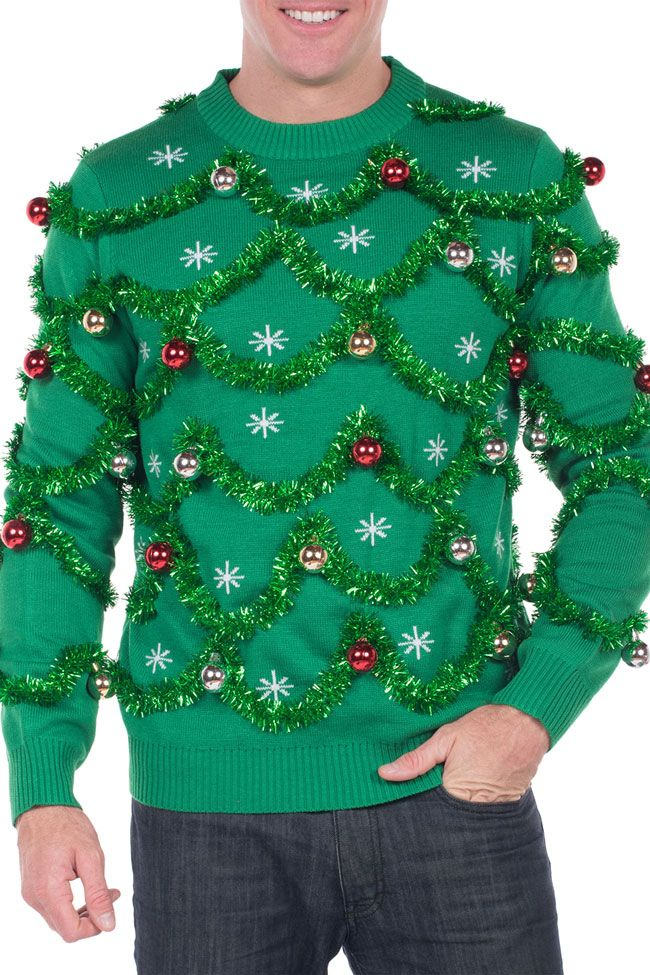 Men's Gaudy Garland Ugly Christmas Sweater