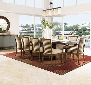 Wishlisted Tommy Bahama Home Ocean Club 11 Piece Peninsula Dining Table Kowloon Chair Set