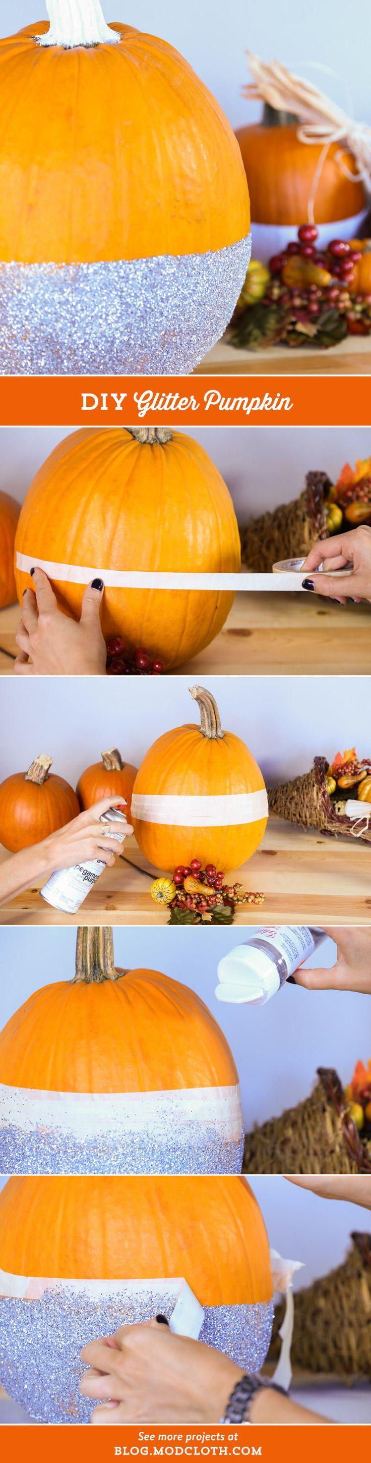 Disco pumpkin patch, anyone? Glam up your #Halloween decor with #DIY glitter pumpkins!