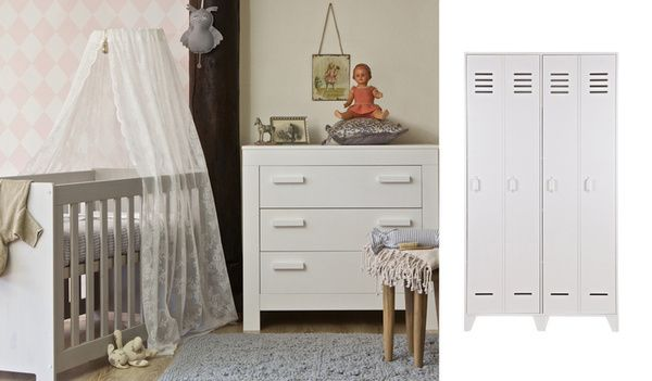 Woood New Life babykamer Stijn wit. Een stoere kamer met lockerkast, gemaakt van grenen. Bestel snel, en ook jouw kindje slaapt straks heerlijk in zijn eigen kamertje. #Woood #4kidsathome
