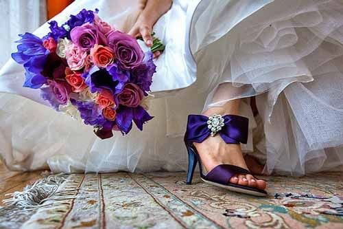 Colourful wedding shoes - Dark blue & Purple