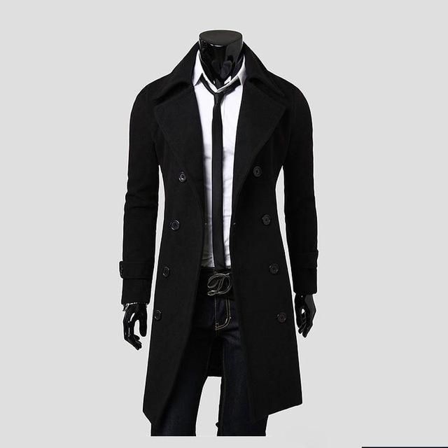 Double breasted long trench coat men size m-3xl
