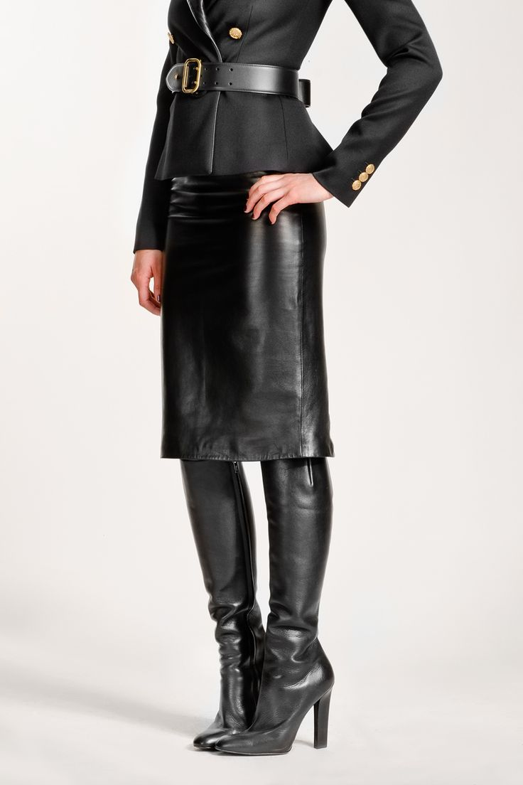 Black Leather Skirt And Boots Looks I Like Pinterest