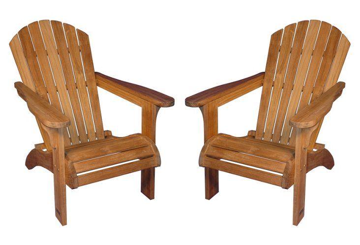 Mark Teak Adirondack Chairs, Pair