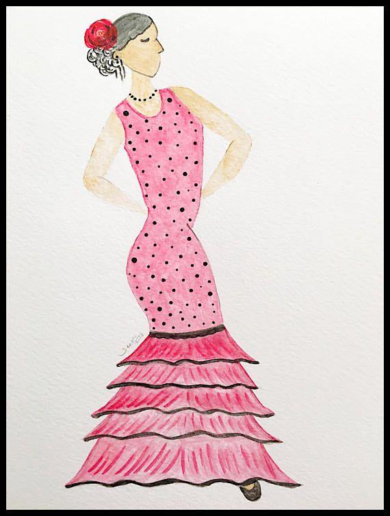 Charming dancer print Spanish Flamenco dancer Gypsy