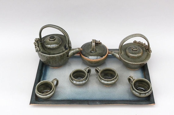 Untitled 4 Tea service by Hummingbirdcrafter on Etsy, $250.00 SOLD