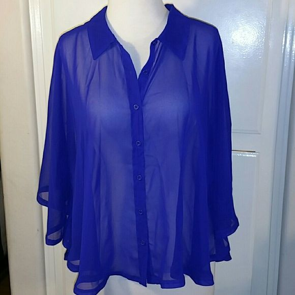 F21 Cobalt Sheer Batwing Button-Down Blouse Looks great with white denim or a fitted skirt. This sheer batwing top is sexy yet comfortable. Color looks great on many different skin tones.   Machine Wash Cold Good Condition Forever 21 Tops Button Down Shirts