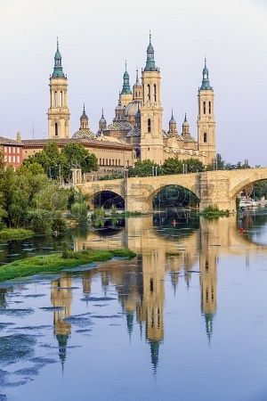 View of the Basilica Cathedral of Our Lady of the Pillar, Catedral Basilica de Nuestra Señora del Pilar, Zaragoza Spain